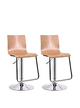 Baxton Studio Set of 2 Lynch Modern Bar Stools, Nature