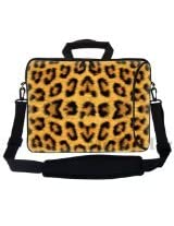 Meffort Inc 17 17.3 inch Neoprene Laptop Bag Sleeve with Extra Side Pocket Soft Carrying Handle & Removable Shoulder Strap for 16 to 17.3 Size Notebook Computer - Leopard Prints Design