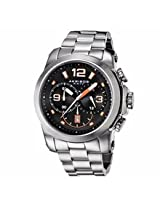 Akribos Black And Orange Dial Chronograph Stainless Steel Mens Watch Ak631Or