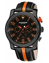 Akribos Black Dial Black And Orange Leather Mens Watch Ak554Or