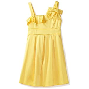 Ruby Rox Big Girls'x Faux One Shoulder Dress, Yellow, 8