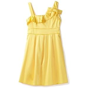 Ruby Rox Big Girls'x Faux One Shoulder Dress, Yellow, 8