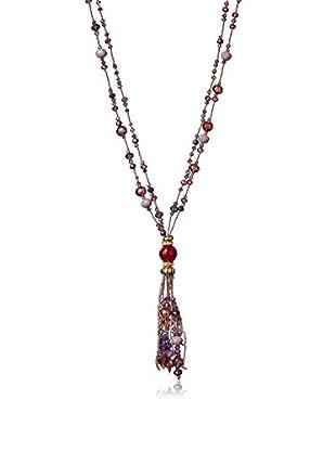 Saachi Purple Multi Crystal Tassel Necklace