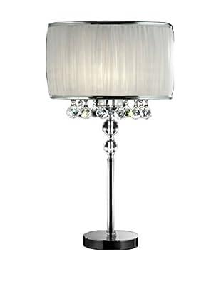 ORE International Pure Essence 3-Light Table Lamp, Silver/Ivory