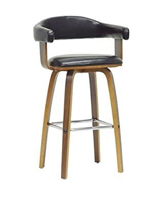 Baxton Studio Quigley Modern Counter Stool, Walnut/Black