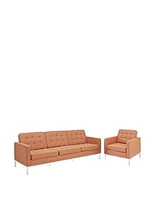 Modway Loft Armchair & Sofa Set, Orange Tweed