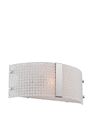 Lite Source 1-Light Patterned Wall Sconce, Chrome/White