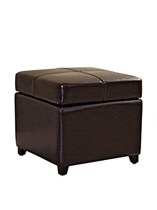 Baxton Studio Leather Storage Ottoman, Dark Brown