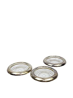 Set of 3 Silver Plated Rimmed Votive Holders, Silver
