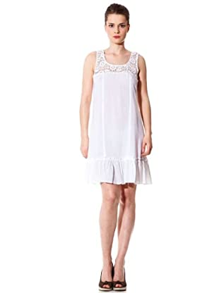 Naf Naf Vestido Crochet (blanco)