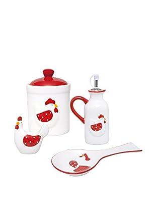 Molecuisine Küchen Zubehör 4 tlg. Set weiß/rot