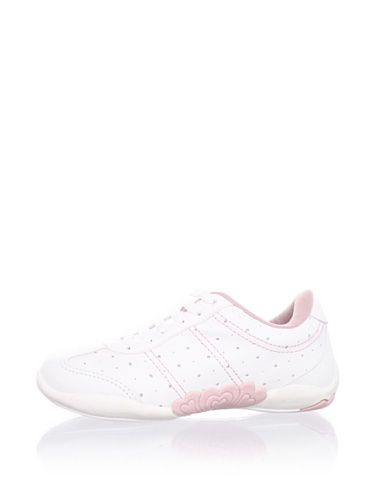 Pampili Kid's Leather Topstitched Sneaker (White/Pink)