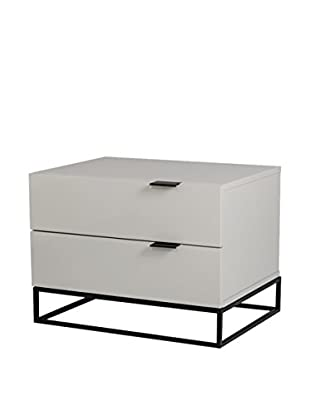 Casabianca Vizzione Nightstand/End Table, High Gloss Light Grey Lacquer