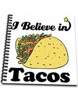 3dRose db1055741 I Believe in Tacos-Drawing Book, 8 by 8-Inch