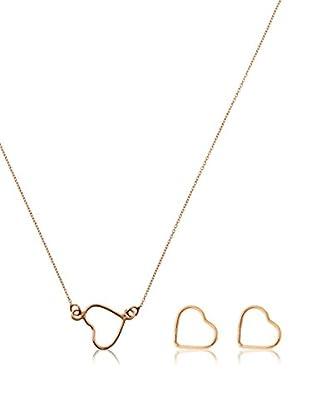 Cordoba Jewelles Conjunto de collar y pendientes plata de ley 925 milésimas bañada en oro