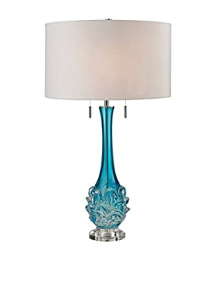 Artistic Free Blown Glass Table Lamp, Blue