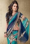 Shaded Blue Net Lehenga Style Saree With Blouse