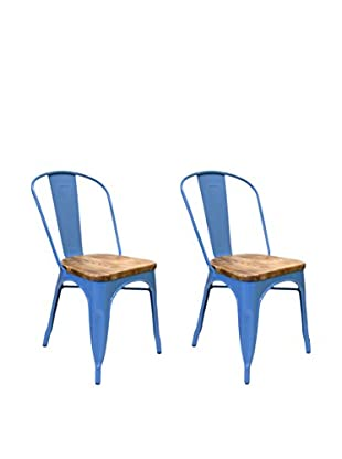Aeon Euro Home Collection Set of 2 Garvin with Wood Seats, Blue/Weathered