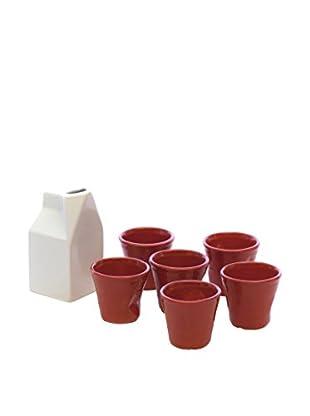 Kaleidos Set Vaso 7 Piezas Rojo/Blanco