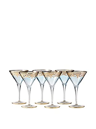 A Casa K Set of 6 Melodia Engraved Crystal Martini Glasses, Blue/Gold