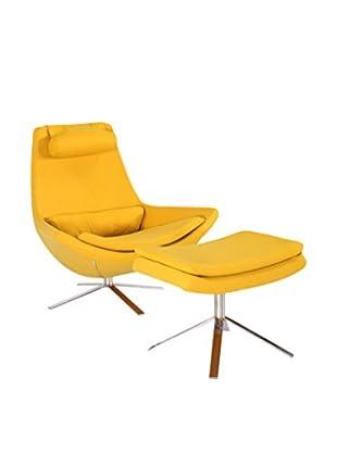 Kardiel Retropolitan Modern Lounge Chair and Ottoman, Sunrise