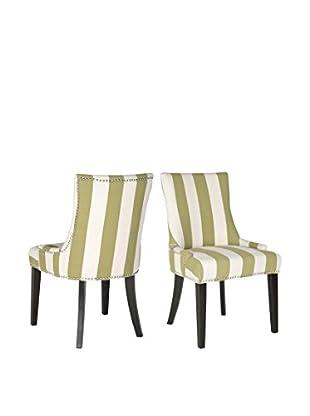 Safavieh Set of 2 Lester Dining Chairs, Green/White Stripe