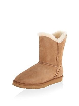 Koolaburra Women's Double Halo Short Short Asymmetrical Shaft Boot (Chestnut)