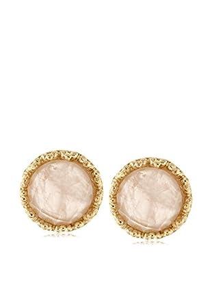 Rivka Friedman 18K Gold Clad Round Rose Quartz Stud Earrings