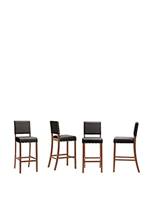 Baxton Studio Set of 4 Walter Modern Bar Stools, Dark Brown