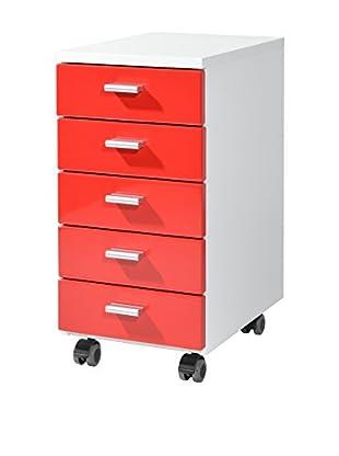 Germania Schubladenschrank 4099 weiß/rot
