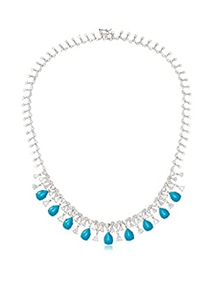 CZ by Kenneth Jay Lane Turquoise/CZ Delicate Drops Necklace