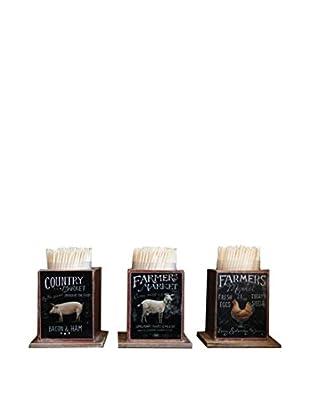 Set of 3 Farm Animal Toothpick Holders, Black