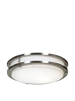 Access Lighting Solero 1-Light Flush Mount, Brushed Steel/White