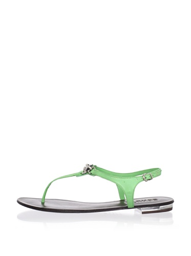 Schutz Women's Center Jewel Thong Sandal (Green Apple)