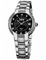 Burgi Black Dial Stainless Steel Ladies Watch Bur077Ss