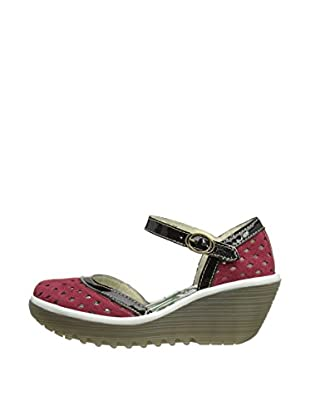 Fly London Zapatos Yana Perf (Rojo / Negro)