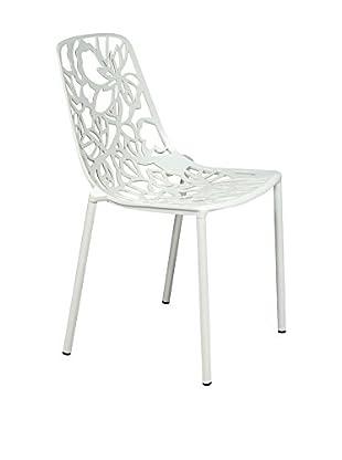 LeisureMod Modern Devon Armless Aluminum Chair, White