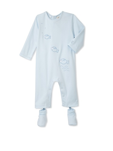 Emile et Rose Baby Boy's One-Piece with Fish Appliqués and Sock Booties (Pale Blue)