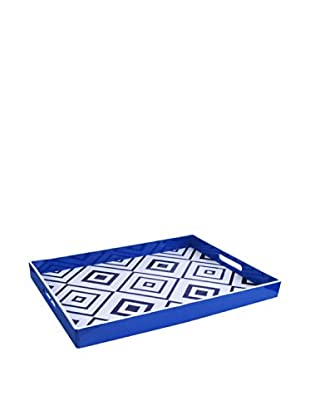 Accents by Jay Rectangle Tray with Handles, Geometric White/Blue