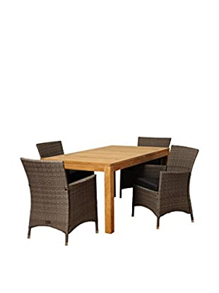Amazonia Teak Sacramento 5-Piece Wicker Rectangular Dining Set with Cushions, Brown/Grey