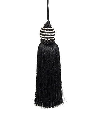 Winward Spiral-Top Tassel Ornament, Black/Silver