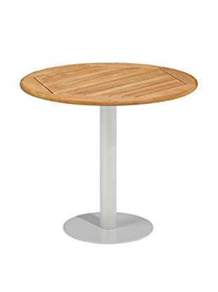 Oxford Garden Travira Round Bistro Table, Powder Coated Aluminum/Teak