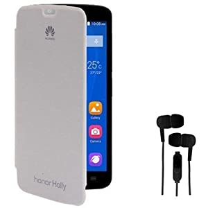 EXXON Flip Cover Case With 3.5mm Stereo Earphones For Huawei Honor Holly Combo Set