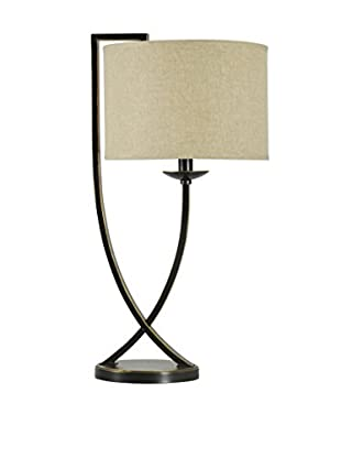 StyleCraft Crossed Arm 1-Light Table Lamp With Linen Shade, Bronze/Natural