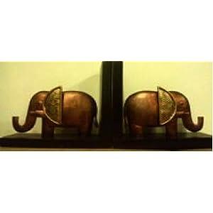 Sanchayika Studio Hand Madel 3D Metal/Wood Elephant Book End