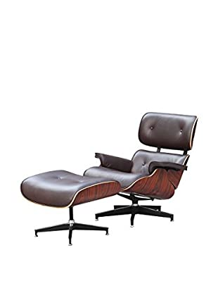 Manhattan Living Zita Lounge Chair With Ottoman, Brown