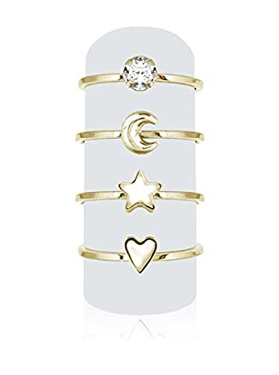 Diamond Style Ring-Set X 4 Midi goldfarben S (DE 53)