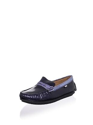 Venettini Kid's Savor Moc Loafer (Toddler/Little Kid/Big Kid) (Mid Blue Patent/Blue Silver Embossed)