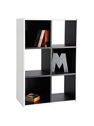13casa Librería Simply D16 Blanco/Antracita