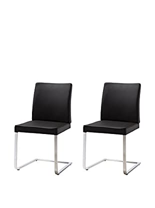 Whiteline Ivy Set of 2 Dining Chairs, Black